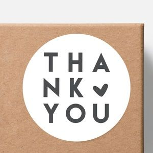 White Gloss Thank You Stickers for Posh Packages